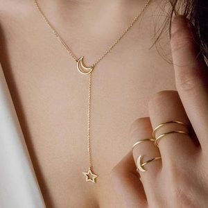 🌟🌙 Gold Moon and Star Drop Necklace
